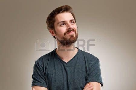 Портрет молодого человека с бородой, думать о somethink Ницце