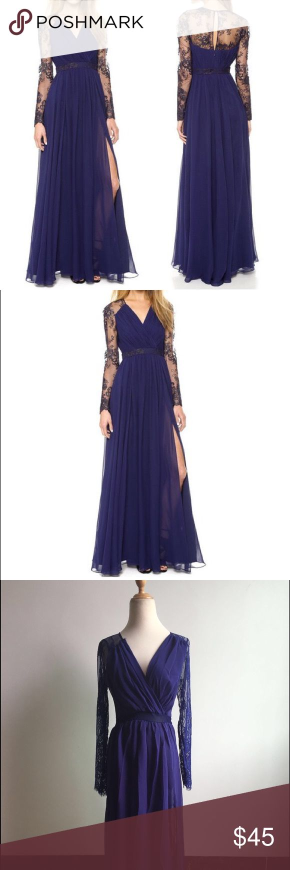 Navy blue maxi dress Polyester blend Dresses Maxi