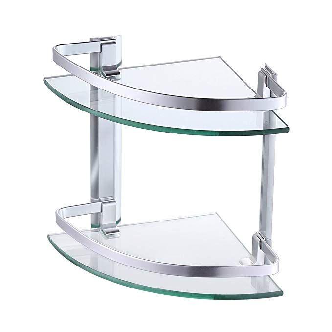 KES Aluminum Glass Shelf Bathroom Bath Corner Caddy Basket Storage