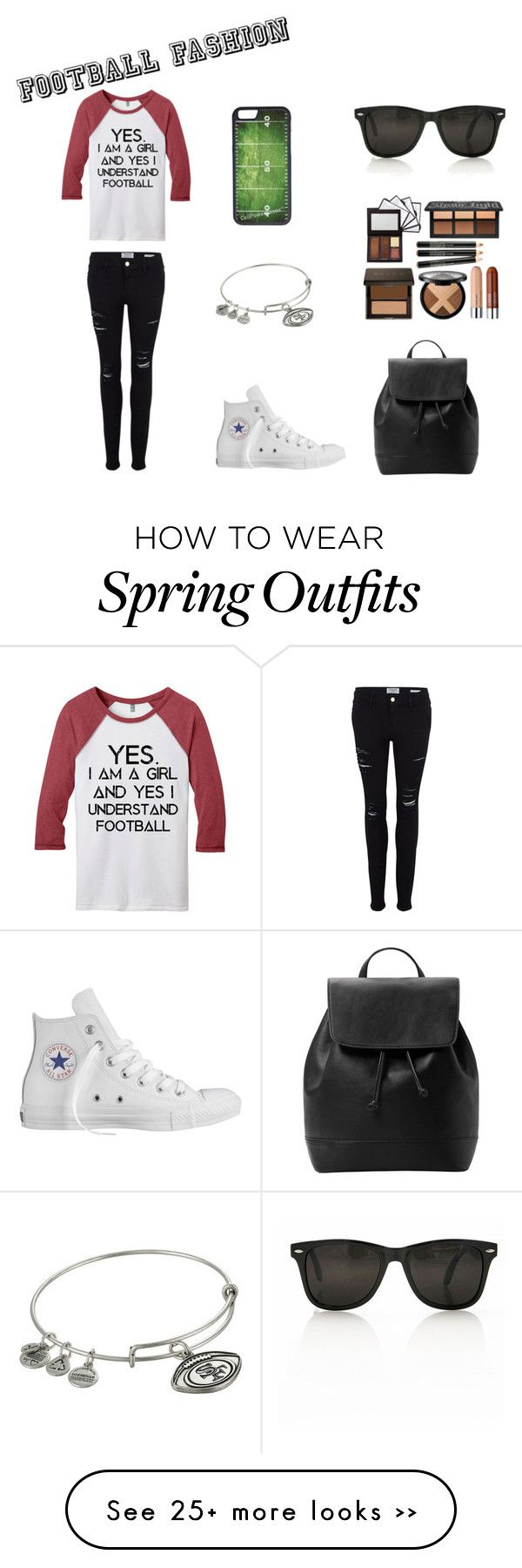 """Yes... I UNDERSTAND football"" by moderndaygamer on Polyvore featuring Frame Denim, CellPowerCases, Alex and Ani, MANGO and Converse"