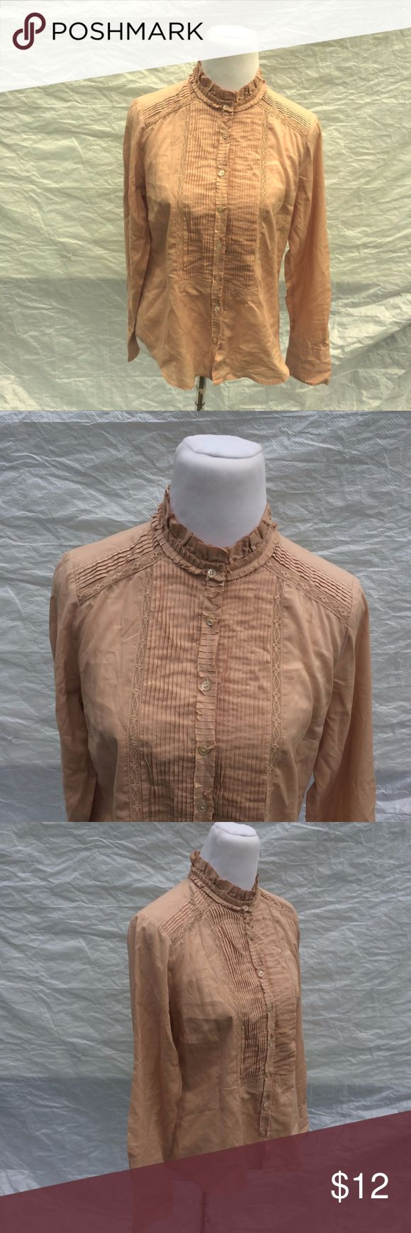 J Crew 10P Shirt Camel Brown Tuxedo Front Brand:  J Crew.  Color:  Brown.  Tag Size:  Misses 10 Petite.  Bust:  39 in.  Sleeve Length: 24 in.  Length:  23 in.  Materials:  Cotton.  Care Instructions:  Machine Wash, Tumble Dry. J. Crew Tops Button Down Shirts