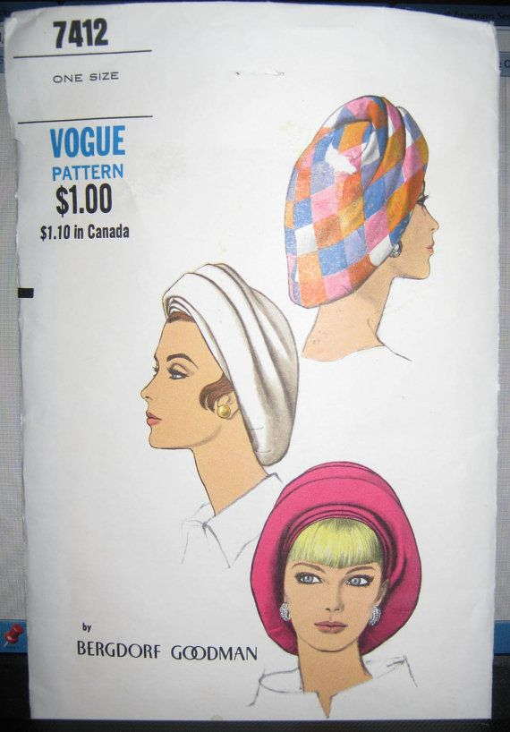 Vintage 50s Vogue Hat  pattern 7412 by LuckyCarolDesigns on Etsy, $15.00