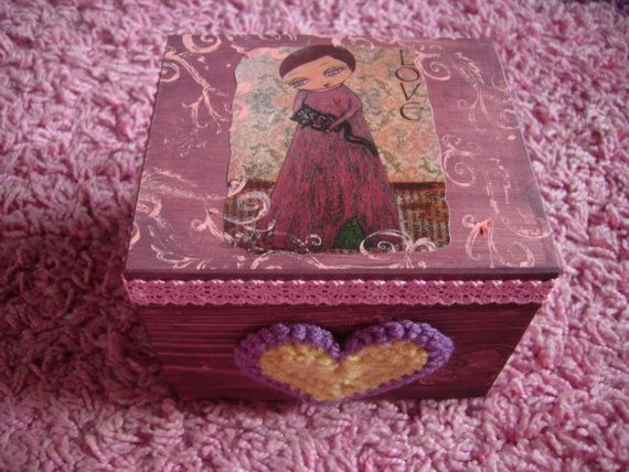 The Cat Lover  mixed media big wooden art box/jewelry by eltsamp, $40.00