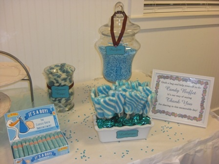 Baby Shower Candy Table by  http://www.sweet-servings.blogspot.comShower Ideas, Baby Shower Candies