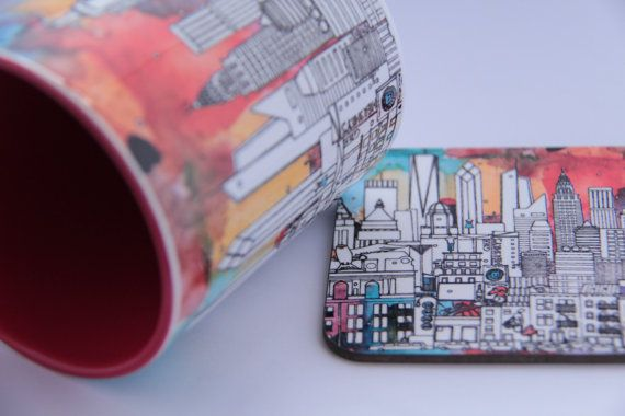 New York City Mug and Coaster  Perfect As A Gift Set by MehaArt