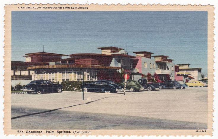 "Palm Springs CA ""The Rossmore Hotel""  Linen Postcard California  *FREE US SHIP"