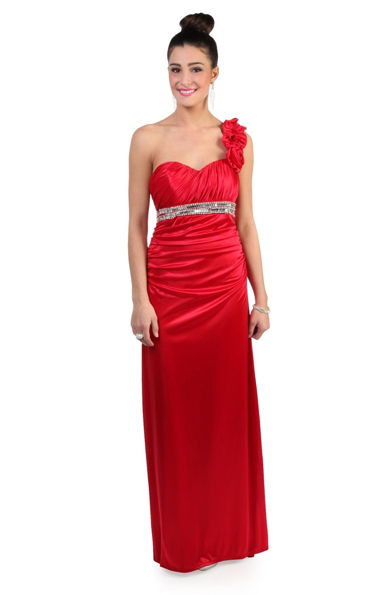 one shoulder #red #prom #dress with stone trimmed waist and flower accent  $82.50