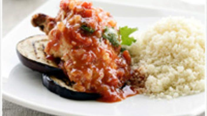 AFRICAN Moroccan chicken with eggplant and couscous