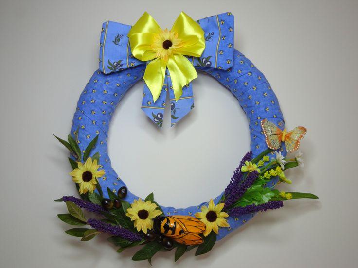 Couronne de porte provençale, couronne décorative de bienvenue d'été. Cadeau…