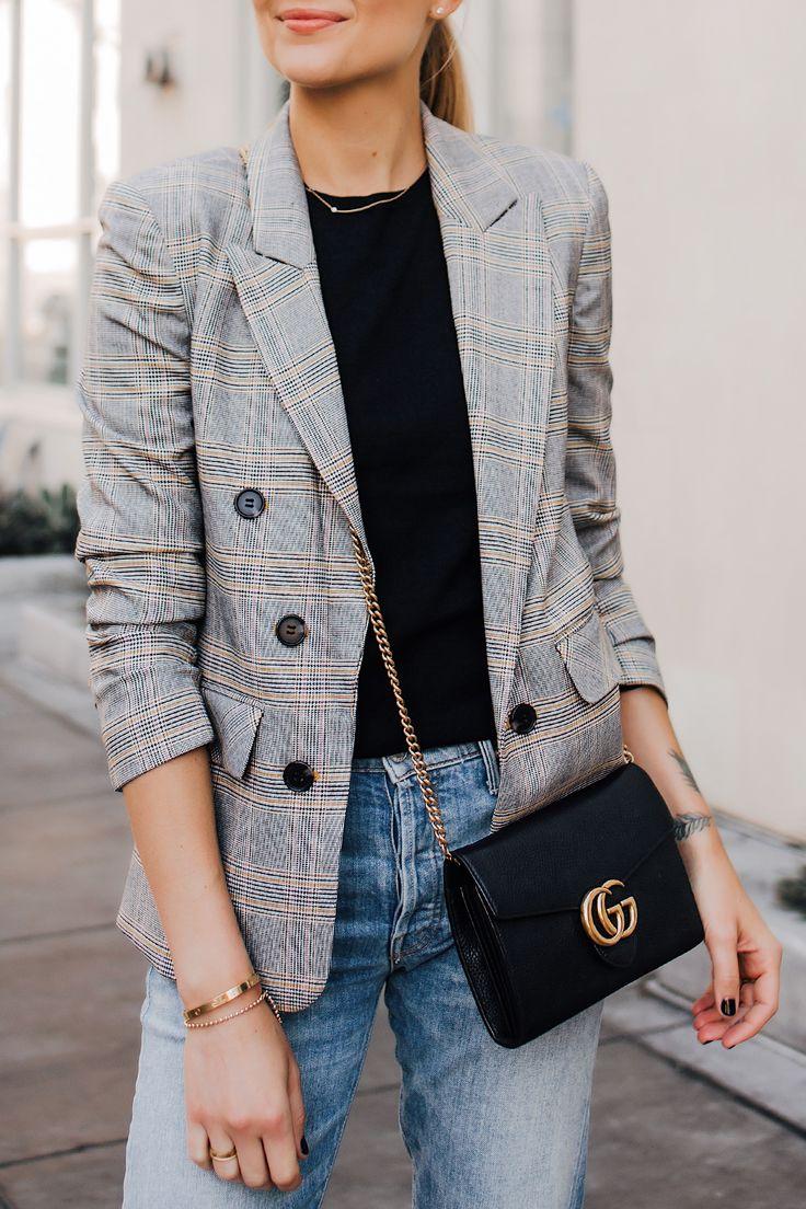 Woman Wearing Plaid Blazer Outfit Jeans Gucci Black