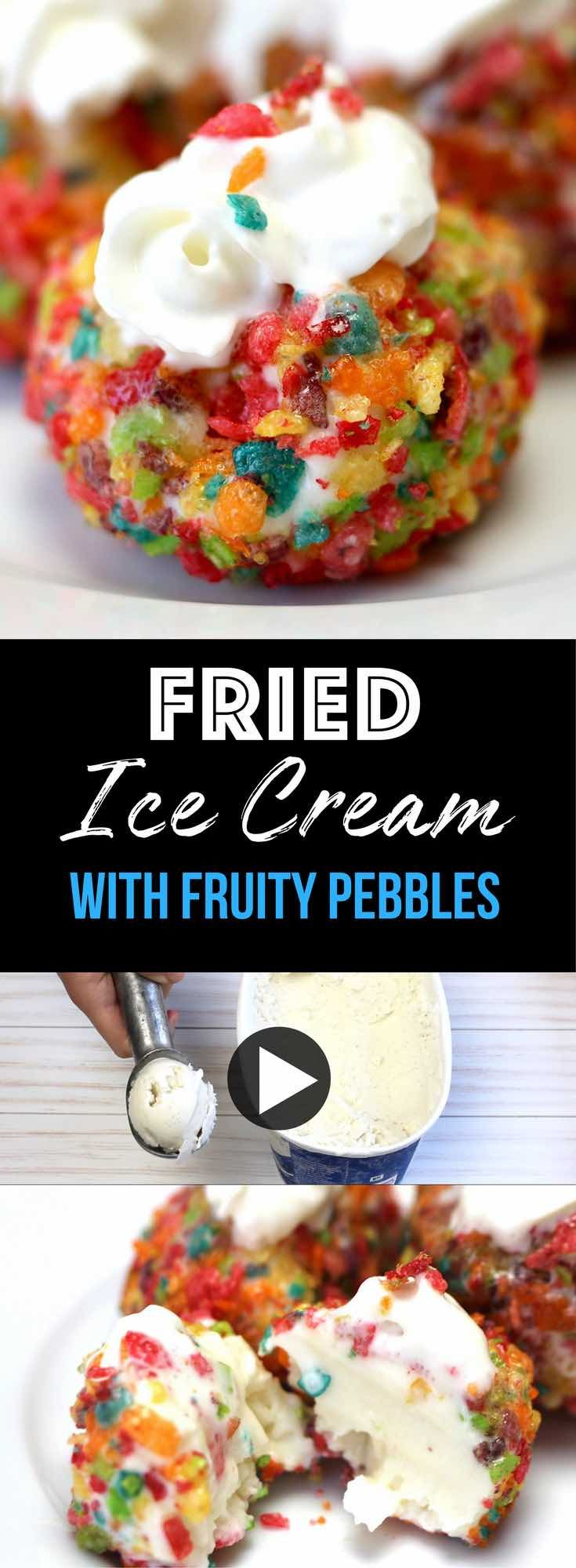 The most incredible Fried Ice Cream Dessert With Fruity Pebbles: Frozen and creamy ice cream is coved by hot, deep fried and crunchy fruity pebble cereal! Fun homemade deep fried ice cream that's super easy to make. Only 3 ingredients: your favorite ice cream, fruity pebble cereal and whipped cream! 3 Ingredient recipe. Desserts. Quick and easy recipe with video tutorial. | tipbuzz.com