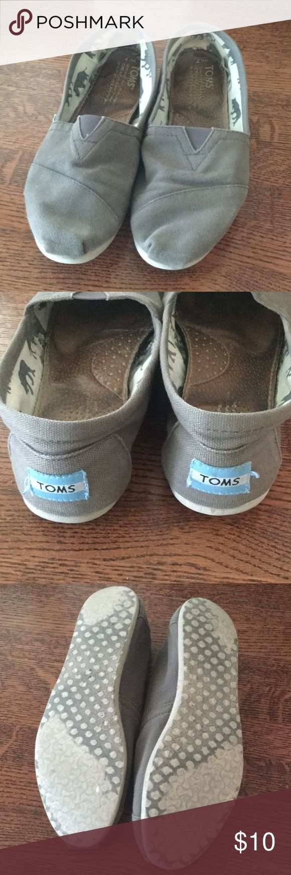 Gray TOMS Well worn. TOMS Shoes