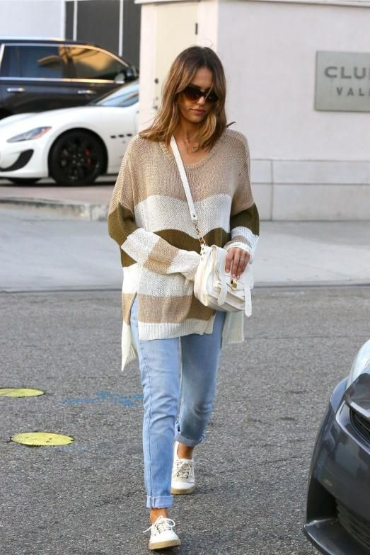 Jessica Alba wearing Proenza Schouler Ps1 Pouch in White, Faithfull the Brand Isabel in Natural Stripe and Vans Gumsole Authentic Lo Pro Sneakers in Blanc De Blanc