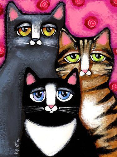CAT Portrait Folk Art CAT Print colorful cat by kristaartstudio
