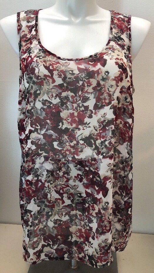 c29f9dd0be1cbe Maurices Women s Tank Top Blouse Floral Lace Back Plus Size 2 EUC ...