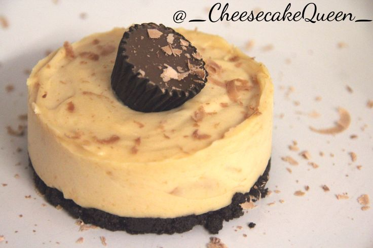 Cheesecake Queen Cheesecakes!  Oreo biscuit base with peanut butter cheesecake and decorated with grated chocolate and a mini Reese's piece!  http://instagram.com/_cheesecakequeen_/