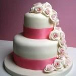 Pink glitter rose wedding cake  www.thelittlevillagecakery.co.uk