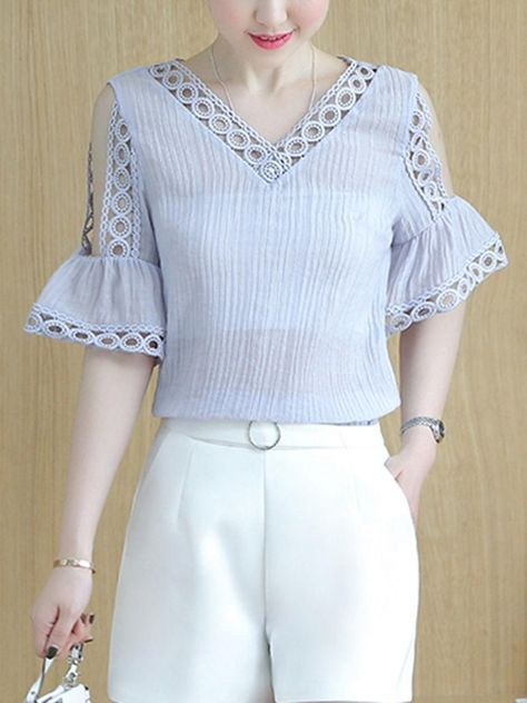 Fashionmia - Fashionmia Open Shoulder Hollow Out Plain Bell Sleeve Blouse - AdoreWe.com