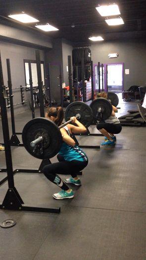 Back Squats! Girls, even small ones, can rock crossfit! Brazen Athletics - Hoboken, NJ