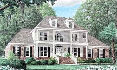 Plantation Style House Plans - 3033 Square Foot Home , 2 Story, 4 Bedroom and 3 Bath, 2 Garage Stalls by Monster House Plans - Plan 27-157