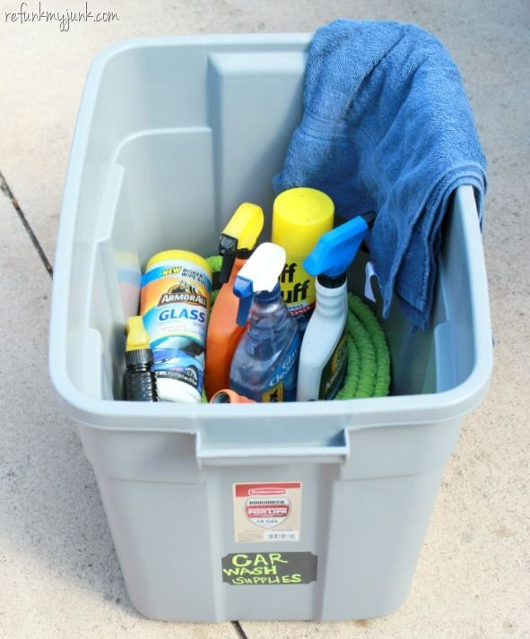 Create a car cleaning kit for the garage to keep all of your hubby's car cleaning tools organized and under control!
