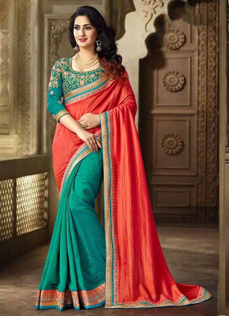 Shop Online Peach Green Satin Silk #DesignerSarees @Chennaistore.com