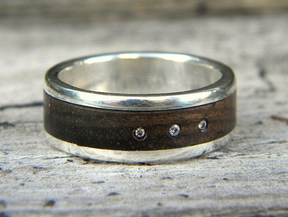 Hey, I found this really awesome Etsy listing at https://www.etsy.com/listing/200520508/mens-diamond-ring-wood-and-silver-wood
