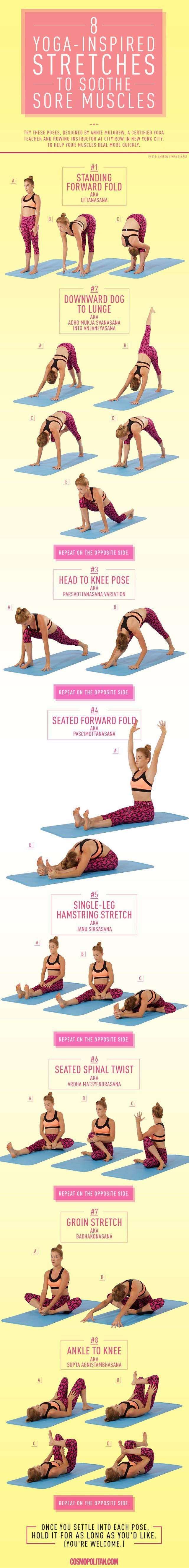 Yoga Stretches for Sore Muscles by cosmopolitan: When you work out, your muscles contract and shorten, which can leave you feeling stiff. Stretching increases blood flow to the muscles to relieve this stiffness, lengthen muscles, and improve your flexibil