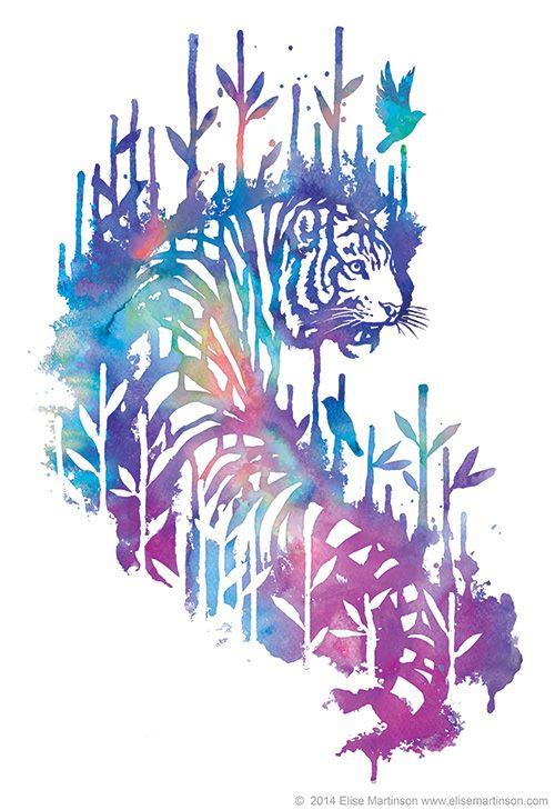 Watercolor tiger t-shirt design