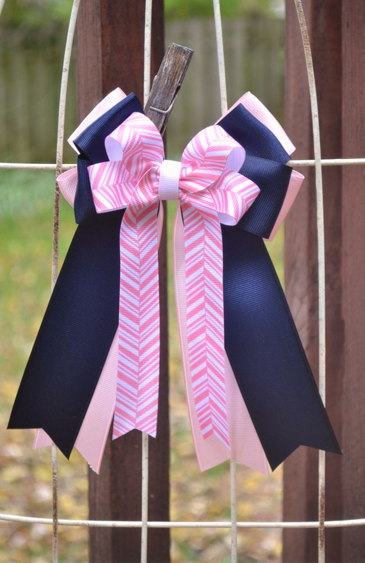 Horse Show Bows- Equestrian Hair Bows (2)- Light Pink, Navy Blue, Pink/White Arrows by OnTheBitBows on Etsy