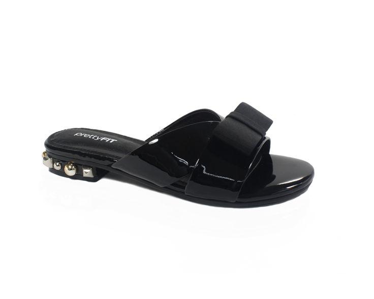PrettyFit - Black Ribbon Slide Sandals