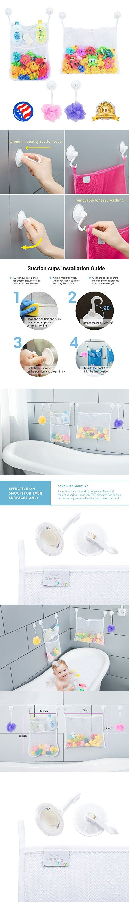 2 x Mesh Bath Toy Organizer + 6 Ultra Strong Hooks  The Perfect Net for Bathtub Toys & Bathroom Storage  These Multi-Use Organizer Bags Make Bath Toy Storage Easy  For Kids, Toddlers & Adults