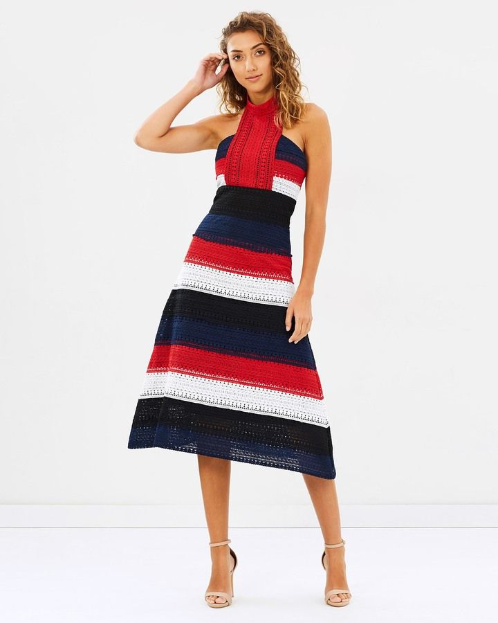 Red, white and blue halter neck midi dress - The Patriot Midi Dress