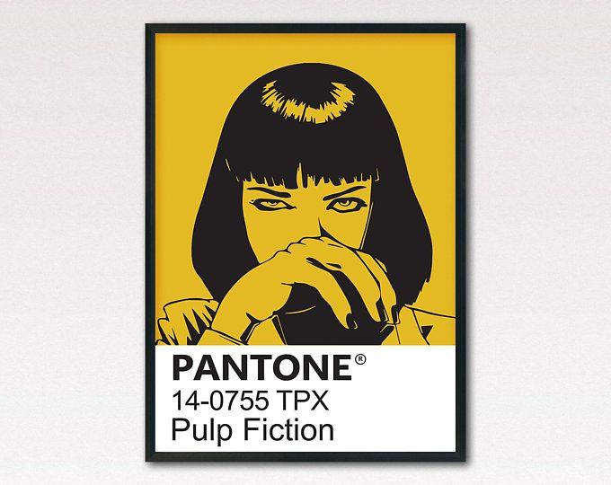 Pulp Fiction Poster Movie Poster Pantone Poster Print With Uma Thurman Pulp Fiction Modern Wall Art Fashion Pr Pulp Fiction Scandinavian Wall Art Poster Prints