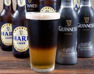 """Half and Half"" (Guiness Stout and Harp Lager) AKA a ""Black and Tan"". Delicious! My favorite beer cocktail."