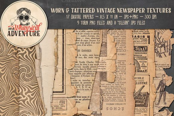 Worn & Tattered Vintage Newspaper by On A Whimsical Adventure on @creativemarket