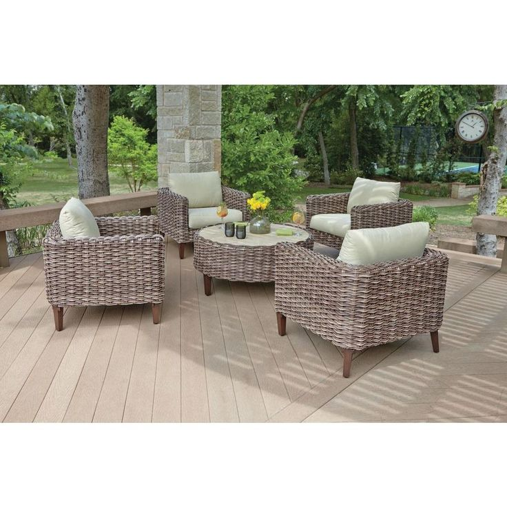Woodard Willow Springs 5 Piece Woven Patio Chat Set With Cushions RXAW 408