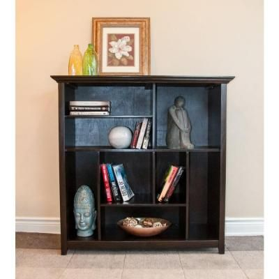 Simpli Home Amherst Collection Dark American 8-Cube Bookcase and Storage Unit in Dark Brown Wood-INT-AXCAMH-CCUB-DAB - The Home Depot