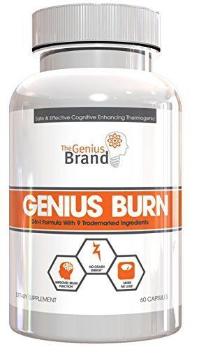 Genius Burn - 2-In-1 Focus Enhancing Thermogenic Fat Burner, Caffeine Free Nootropic Weight Loss Supplement, Natural Energy, Memory and Brain Boost with 9 Clinically Validated Ingredients, 60 V-Caps //Price: $49.99 & FREE Shipping //     #hashtag2 #brainnutrition