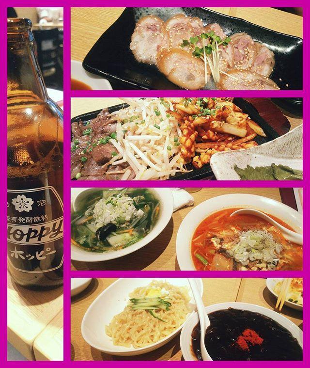 韓国料理でうま辛(*´∀`)♪ はー。食べ過ぎたーw3人で行ったのに、麺が結果的に4人前になってた気がするよ?ww #韓国料理 #豚足 #イカ #肉 #ジャージャー麺 #ラーメン #麺スタグラム #ホッピー #お酒