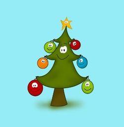 Kleurrijke kerstkaart met kerstboom. Grappige Cartoon-kerstkaarten. Kies een mooie kerstkaart, schrijf de tekst, en met een druk op de knop, verstuur je ze allemaal! http://www.kerstkaartensturen.nl/kerstkaarten/kerst-cartoons/