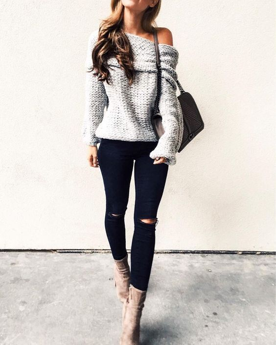 200+ Cute Ripped Jeans Outfits For Winter 2017