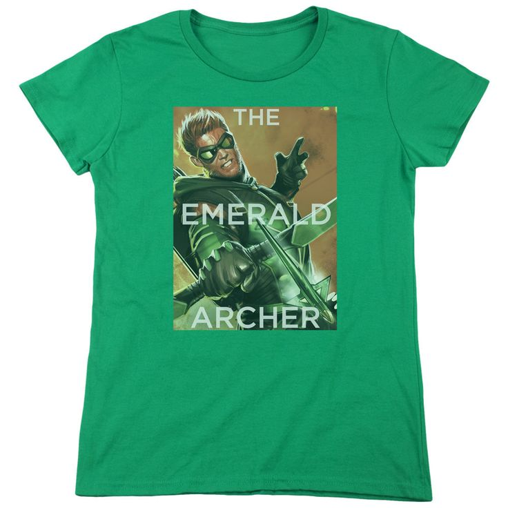 Justice League Trigger Kelly Green Womens T-Shirt