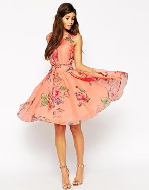 ASOS WEDDING Prom Dress In Rose And Forget Me Not Print
