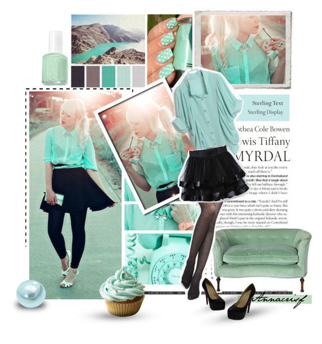 """""""Keep calm and have a cupcake"""" by annacrisf ❤ liked on Polyvore featuring Tiffany & Co., modern, mint green, skirt, sheinside, mint, green and shirt"""