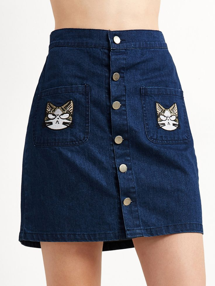 Shop Blue Cat Embroidery Button Denim Skirt online. SheIn offers Blue Cat Embroidery Button Denim Skirt & more to fit your fashionable needs.