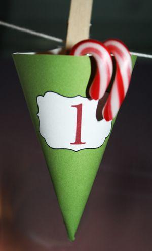 Christmas Calendar Cones Printable Advent Calendar