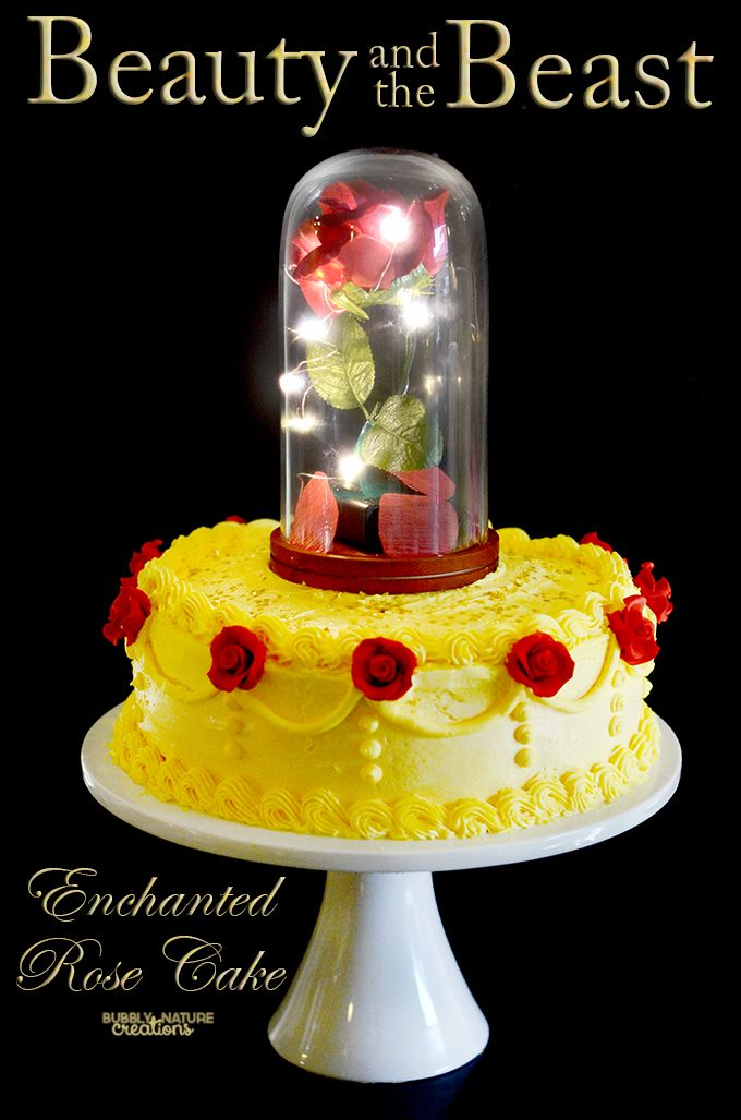 Beauty and the Beast Enchanted Rose Cake!  Perfect for a Beauty and the Beast Party!  I can't wait for the movie to come out!