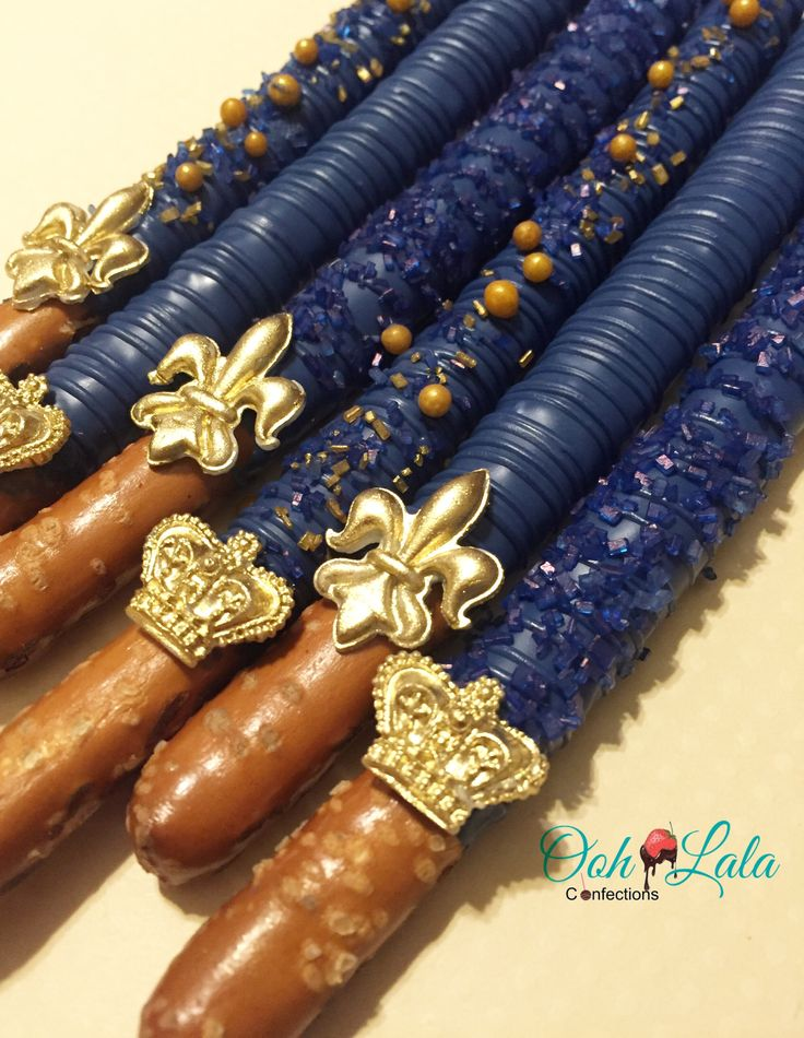 Royal Baby Shower Royal blue and gold  Chocolate covered pretzels