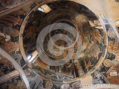 Original Byzantine wall and ceiling painting in Agios Antonios (Saint Anthony) church at Kesariani Monastery, on the slopes of Mount Hymettus, Athens, Greece. The monastery was built on the site of the ancient Temple of Dimitra, the goddess of agriculture.